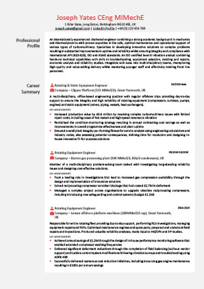 James Innes Group - James Innes Group - Global (Global) - CV Resume Example 2